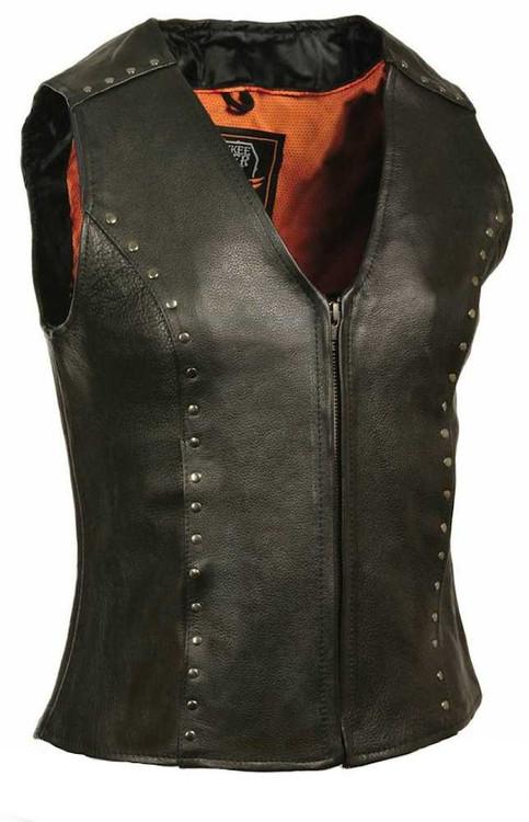 Milwaukee Leather Ladies Zipper Front Vest, Studding Detail ML2078 - A