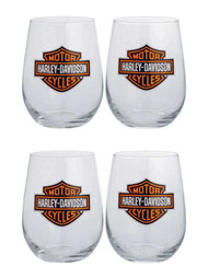 Harley-Davidson® Bar & Shield Logo Stemless Wine Glass 17 oz Set 4  Bar 99205-14V - Wisconsin Harley-Davidson