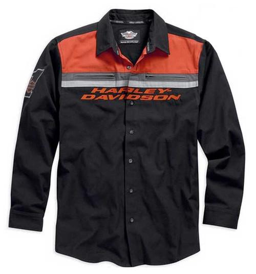 harley-davidson® colorblocked l/s woven button shirt black/orange