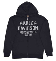 Harley-Davidson® Men's Hooded Sweatshirt, Distressed Script Black Hoodie 30294033 - A