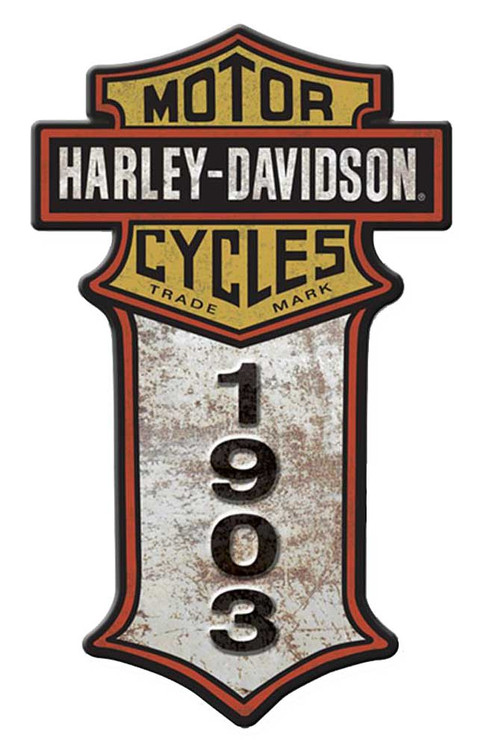 Harley-Davidson® Cut Out Vertical Bar & Shield Aluminum Sign A-CUVERTHOME-CCGPX