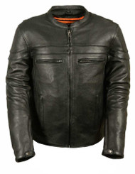 Leather King Men's Sporty Scooter Crossover Leather Jacket SH1408 - D