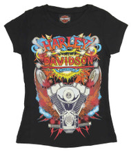 Harley-Davidson® Big Girls' Retro KA-POW! Short Sleeve Youth Graphic Tee, Black