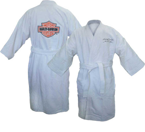 Harley-Davidson® Women's Bar & Shield Ligthweight Bath Robe, White Bathrobe 87163