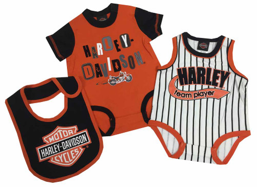 Harley-Davidson® Baby Boys' 2 Pk Harley Creeper & Bib Set, Orange/Black 3062513