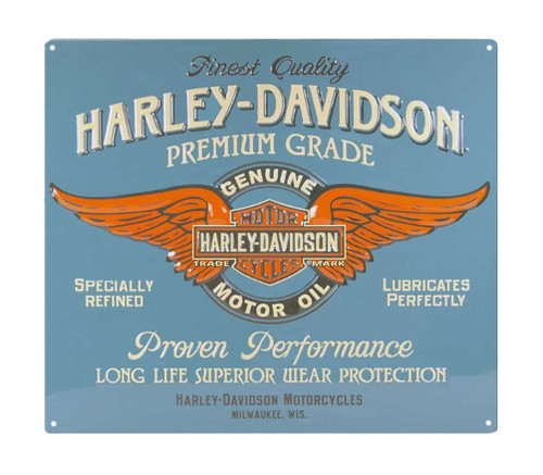 Harley-Davidson® Embossed Genuine Duty Winged B&S Tin Sign, 15 x 13 inch 2010821