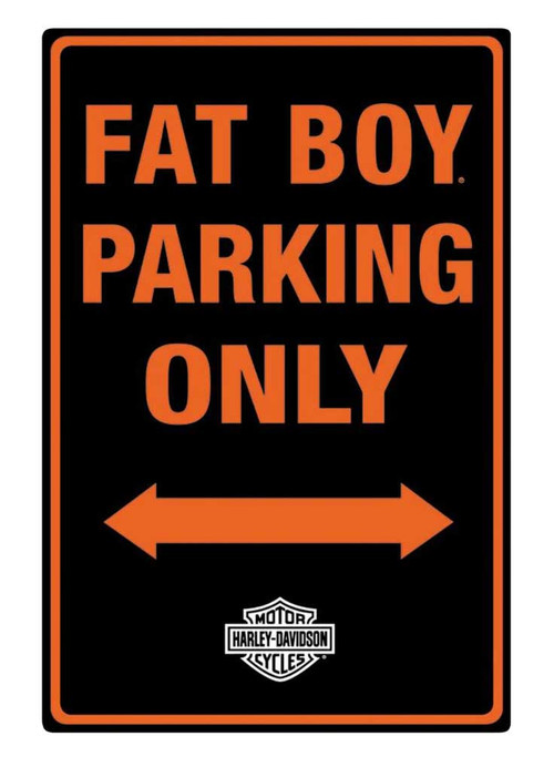 Harley-Davidson® Embossed Fat Boy Motorcycle Packing Only Tin Sign, Black 2010981