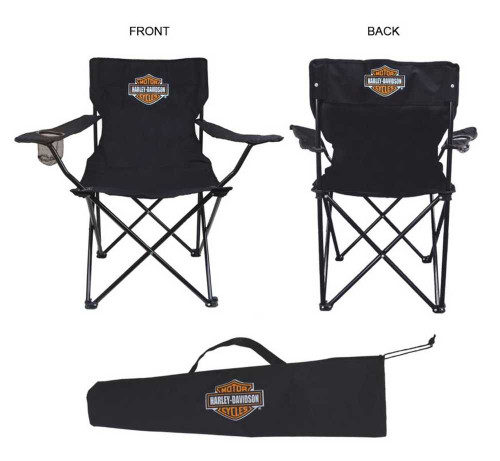 Harley-Davidson® Compact Bar & Shield Chair, Drink Holders & Bag, Black CH30230