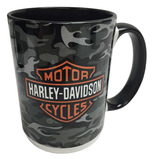 Harley-Davidson® Camo Flames Bar & Shield 2-Sided Coffee Mug, Black HD-BSC-1772B
