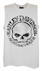 Harley-Davidson® Men's Willie G Skull Tank Top, White Muscle T-Shirt 30296645 - A