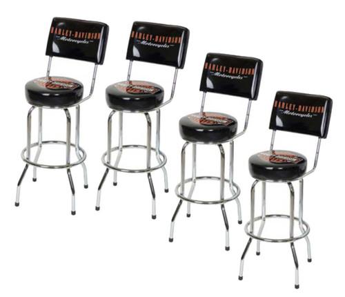Harley-Davidson® Bar & Shield Bar Stool With Back Rest HDL-12204 SET OF 4 - A