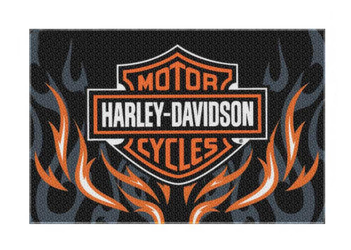 Harley-Davidson® Bar & Shield Rise Up Flames Rug, Rectangle 39 x 59 inch NW282865