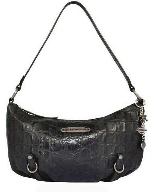 Harley Davidson Womens Black Hammered Croco Shoulder Bag Purse HC7942L-BLK