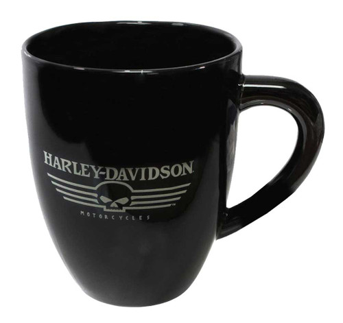 Harley-Davidson® Ceramic Coffee Mug, Flat Willie G Skull 15 oz. Black HD-HD-919 - A
