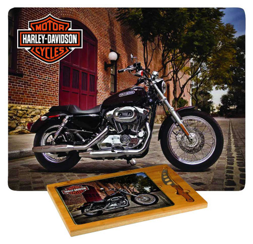Harley-Davidson® Cutting Board, Icon Sportster Print Glass/Wood Board 910-00-004