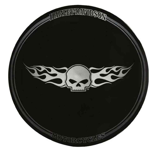 Harley-Davidson® Flaming Willie G Skull Ceramic Plate, 11 inch, Black HD-HD-903