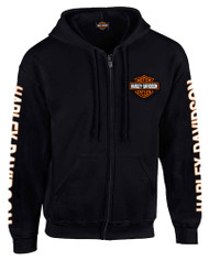 Harley-Davidson® Men's Hooded Sweatshirt, Bar & Shield Zip Black Hoodie 30299142 - Wisconsin Harley-Davidson