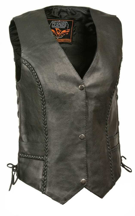 Milwaukee Leather Women's Braided Side Lace Vest w/ Buffalo Snaps ML1255 - A