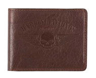 Harley-Davidson® Men's American Bison Skull Billfold Wallet, Brown US1681L-BROWN - A