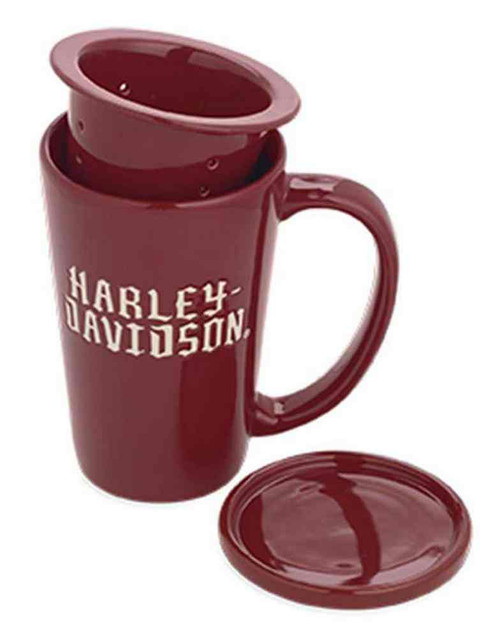 Harley-Davidson® Ceramic Tea Infuser & Lid Mug Coffee Mug  Red/White. 96811-16V - A