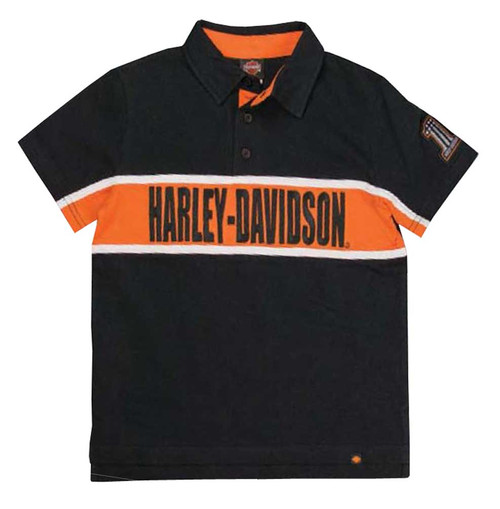 Harley-Davidson® Big Boys' Embroidered H-D Polo Striped Shirt, Black 1090561