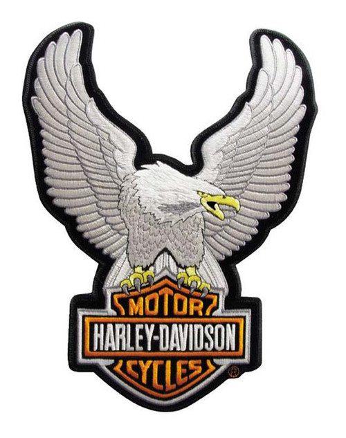 harley davidson eagle winged large silver patch 7 3 4 x 10 1 4 rh wisconsinharley com harley davidson eagle logo over the years harley davidson eagle logo motorcycle cover