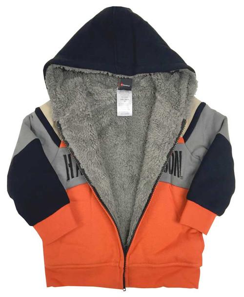 Harley-Davidson® Big Boys' Colorblocked Sherpa Fleece Hoodie, Orange 6591678