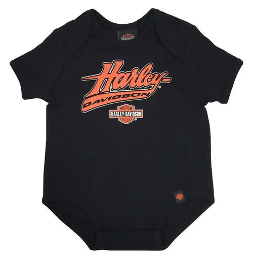 Harley-Davidson® Baby Boys' Interlock Creeper, H-D Felt Script, Black 0263094 - Wisconsin Harley-Davidson