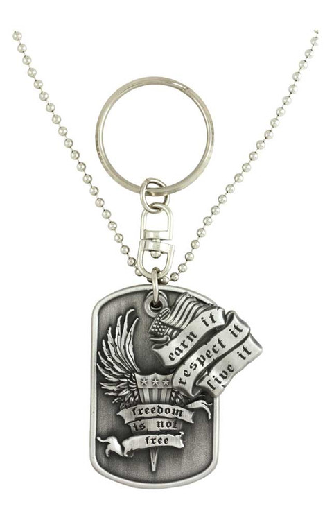 Harley-Davidson® Dog Tag, Freedom Is Not Free Bar&Shield Chain/Key Chain 8002855 - A