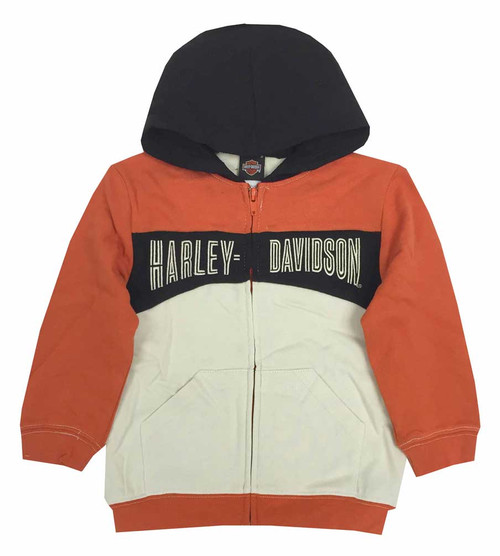 Harley-Davidson® Big Boys' Hooded Sweatshirt, Embroidered H-D, Orange 6591535