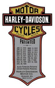 Harley-Davidson® Patented Dates Tin Metal Sign 11 x 18 Inches 2010181 - Wisconsin Harley-Davidson