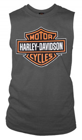 Harley-Davidson® Men's Bar & Shield Muscle Shirt Tank Top, Charcoal Tee 30296624 - A