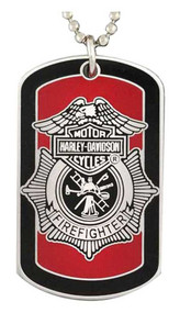 Harley-Davidson® Firefighter First In Last Out Dog Tag Necklace/KeyChain 8002718
