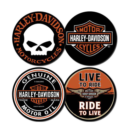 Harley-Davidson® Core Collection Coasters, 4 Famous H-D Iconic Logos CS11966