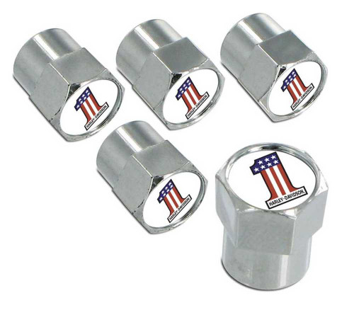Harley-Davidson® #1 USA Flag Valve Stem Cap Covers Chrome - 5 Pack HDVC153
