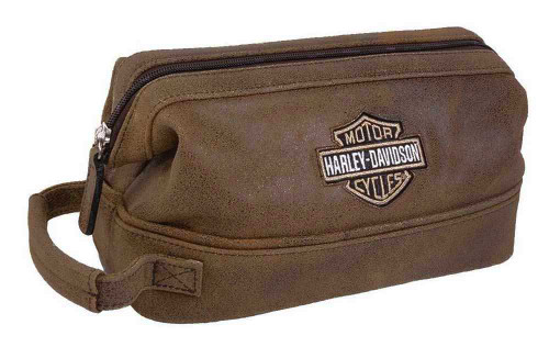 Harley-Davidson® Bar & Shield Distressed Leather Toiletry Kit, Brown 99609-BRN - Wisconsin Harley-Davidson