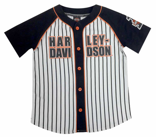 Harley-Davidson® Big Boys' Raglan Baseball Jersey, White/Orange/Black 1092529
