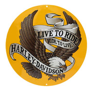 Harley-Davidson® Round Tin Sign, Live To Ride, Ride To Live Eagle Gold 2010231 - Wisconsin Harley-Davidson