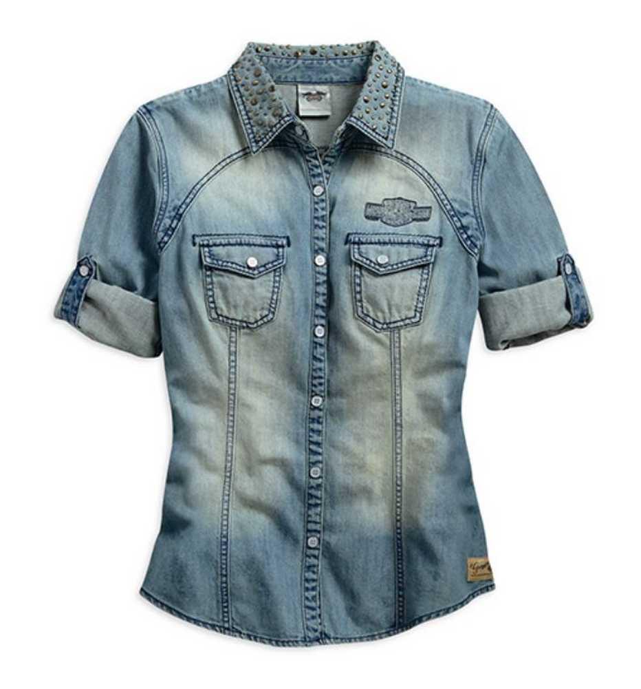 Harley Davidson 174 Women S Genuine Short Sleeve Denim Shirt