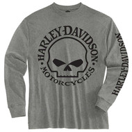 Harley-Davidson® Little Boys' Tee, Long Sleeve Willie G Skull Shirt, Gray 1580509 - Wisconsin Harley-Davidson