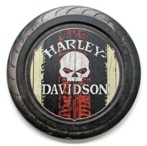 Harley-Davidson® 23 in Round 2 Piece Tire Willie G Wooden Sign CU118A-HARL-HDFI-2