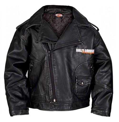 Harley-Davidson® Big Boys' Upwing Eagle Biker Pleather Jacket Black 0396074 - Wisconsin Harley-Davidson