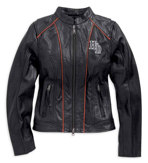 Harley-Davidson® Women's Epoch Leather Jacket, Black/Orange/White ...