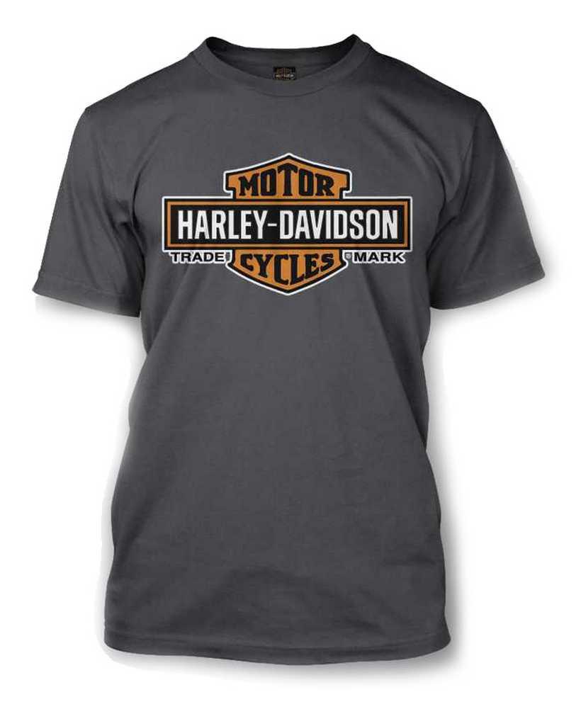 Harley-Davidson® Men's Elongated Orange Bar & Shield Charcoal T-Shirt  30291961