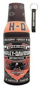 Harley-Davidson® Conquest Black Bottle Wrap Zippered w/ Bottle Opener BZ121730 - Wisconsin Harley-Davidson