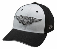 Harley-Davidson® Men's 39Thirty B&S Winged Logo Baseball Cap, Black. 99401-15VM - Wisconsin Harley-Davidson