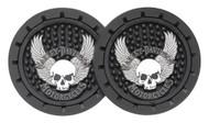 Harley-Davidson® Skull & Wings Car Drink Holder Coasters, Set Of 2 CG627