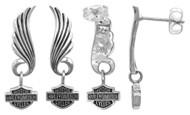 Harley-Davidson® Women's Little Wing Bar & Shield Post Dangle Earrings HDE0270