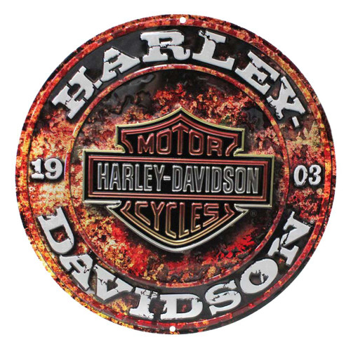 Harley-Davidson® Embossed Stone Rust Bar & Shield Tin Sign, Round 14 inch 2011171 - Wisconsin Harley-Davidson