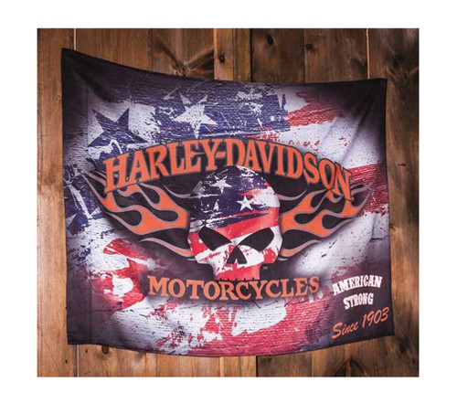 Harley-Davidson® Flaming Skull Americana Estate Flag, 36 x 52 inches 17S4906 - A